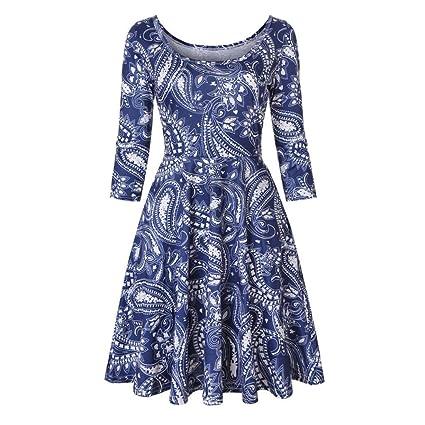 Fuxitoggo Vestido Floral para Mujer con Estampado Floral y una línea de Fiesta Informal. (
