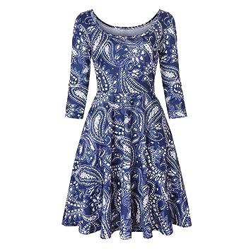 FuweiEncore Vestido Floral para Mujer con Estampado Floral y una línea de Fiesta Informal. (Color : Azul, tamaño : Small): Amazon.es: Hogar