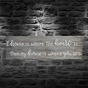 ArogGeld If Home is Where The Heart is Wood Sign,Wooden Wall Hanging Art,Inspirational Farmhouse Wall Plaque,Rustic Home Decor for Living Room,Nursery,Bedroom,Porch,Gallery Wall