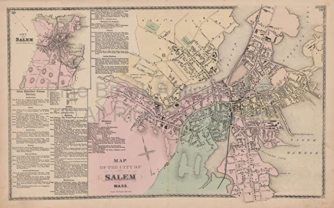 Map Of Salem Ma Amazon.com: Salem Massachusetts Vintage Map Beers 1872 Original