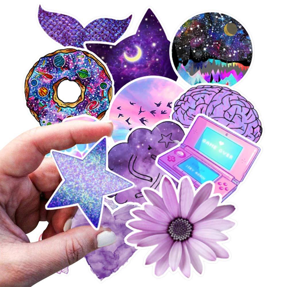 Cute VSCO Stickers 50 Pack Lovely Laptop Stickers Purple Skateboard Decal Sticker,Water Bottles Phone Travel CaseTrendy Waterproof Stickers for Teen Girls Adults