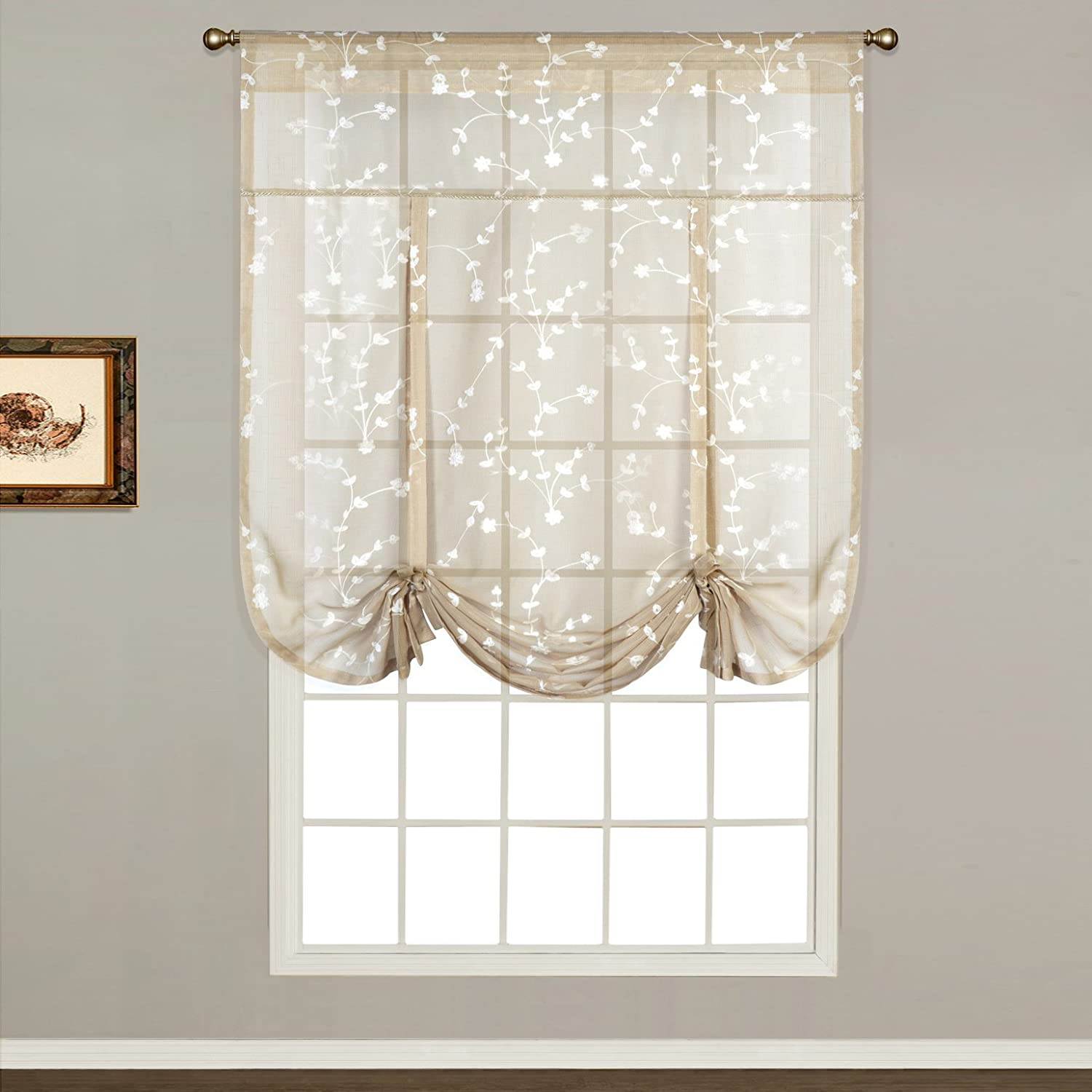 Amazon United Curtain Savannah Tie Up Shade 40 By 63 Inch Taupe Home Kitchen