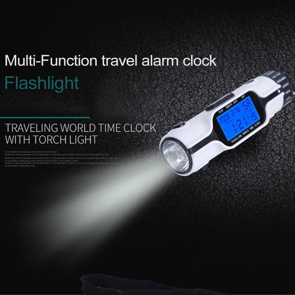 Multi-Funktions Reisewecker Digital Led Backlit Taschenlampe