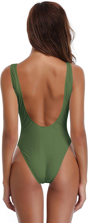 SHEKINI Maillot de Bain Femme 1 Pi/èce Halter High Cut Bikini Femme Body Guide Triangle Couleur Unie Classique Maillot Une Pi/èce Monokini Maillot de Bain Plage Swimsuit