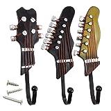 Juvale Set of 3 Decorative Wall Hooks - Iron Hooks, Shabby Chic Guitar Shaped Hooks for Keys, Hats, Coats, Scarfs