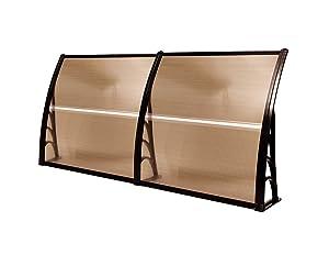 "Mcombo 40""X80"" Window Awning Outdoor Polycarbonate Front Door Patio Cover Garden Canopy 6055-4080(Dark Brown)"