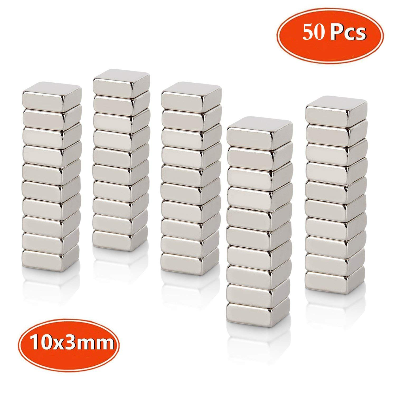 Neodymium Magnets, Strong N45 Grade, Mini Craft Square Magnets 10 x 10 x 3mm, for Fridge Whiteboard Magnetic Mag, Neo Neodymium Rare Earth 50pcs TAOHUIEU
