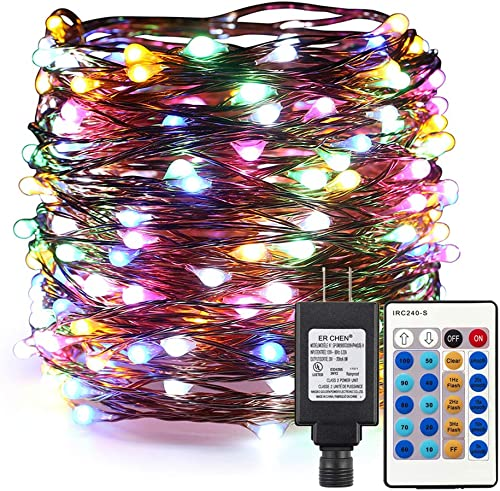 ER CHEN Dimmable LED String Lights Plug in, Super-Long 165ft 500 LED Fairy Lights with Remote, Indoor Outdoor Copper Wire Decorative Lights for Bedroom, Patio, Garden, Yard, Party-Multicolor