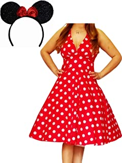 product image for Funfash Halloween Costume Red White Polka Dot Dress Minnie Mouse Ears