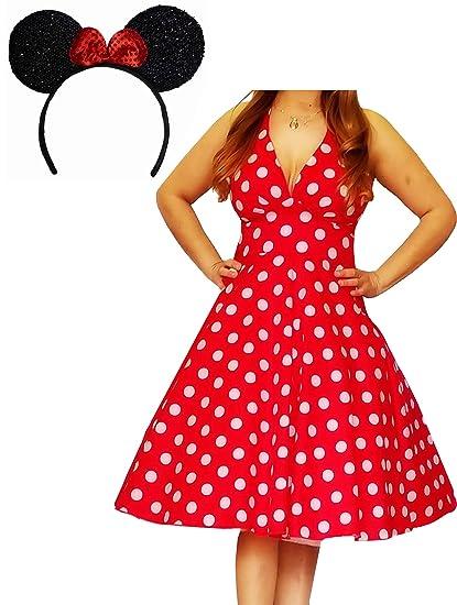 Amazon.com: Funfash Plus Size Halloween Costume Red White Polka Dot ...