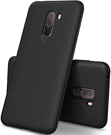 brand new be446 31076 Kugi Shock-Resistant Rugged Armor Case TPU Soft Back Cover For Xiaomi Poco  F1 / Pocophone F1 (Black)