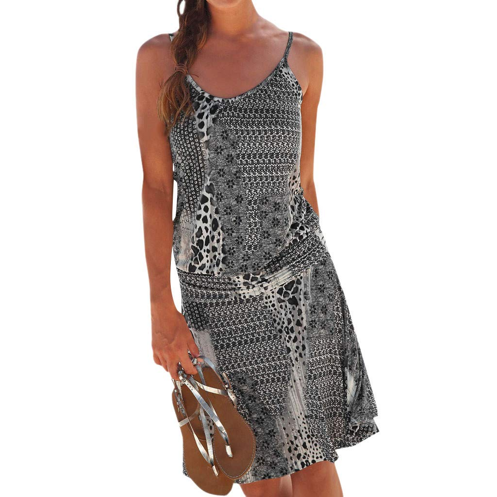 MERICAL Sommerkleid,Frauen Neckholder Boho Print Sleeveless beiläufige Mini Beachwear Dress