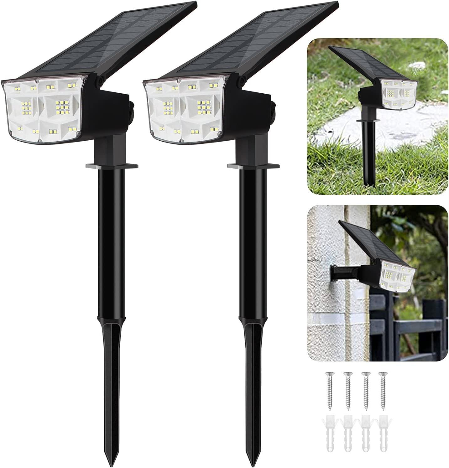 Adamstar Solar Lights Outdoor,Solar Yard Lights,38-Led Solar Landscape Lights Spotlights,Wall Light 2 in 1,Ip67 Waterproof Solar Garden Lights for Lawn Patio Yard, Walkway Deck Driveway,2 Modes