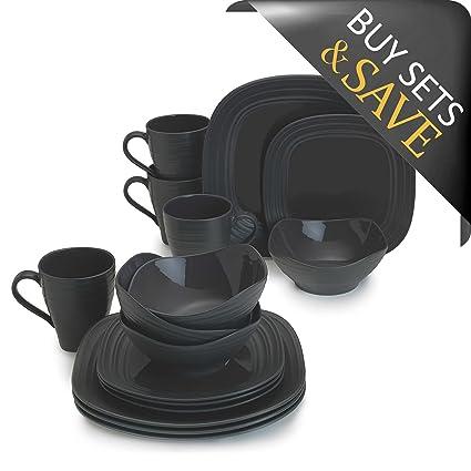 Amazon.com | Mikasa Swirl Square 16-Piece Dinnerware Set: Dinnerware ...