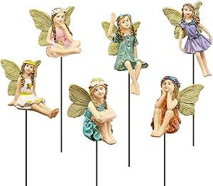 FANWNKI Fairy Garden Vintage Resin Fairy Figurines for Outdoor Garden Yard Lawn Supplies Home Decor Set of 6