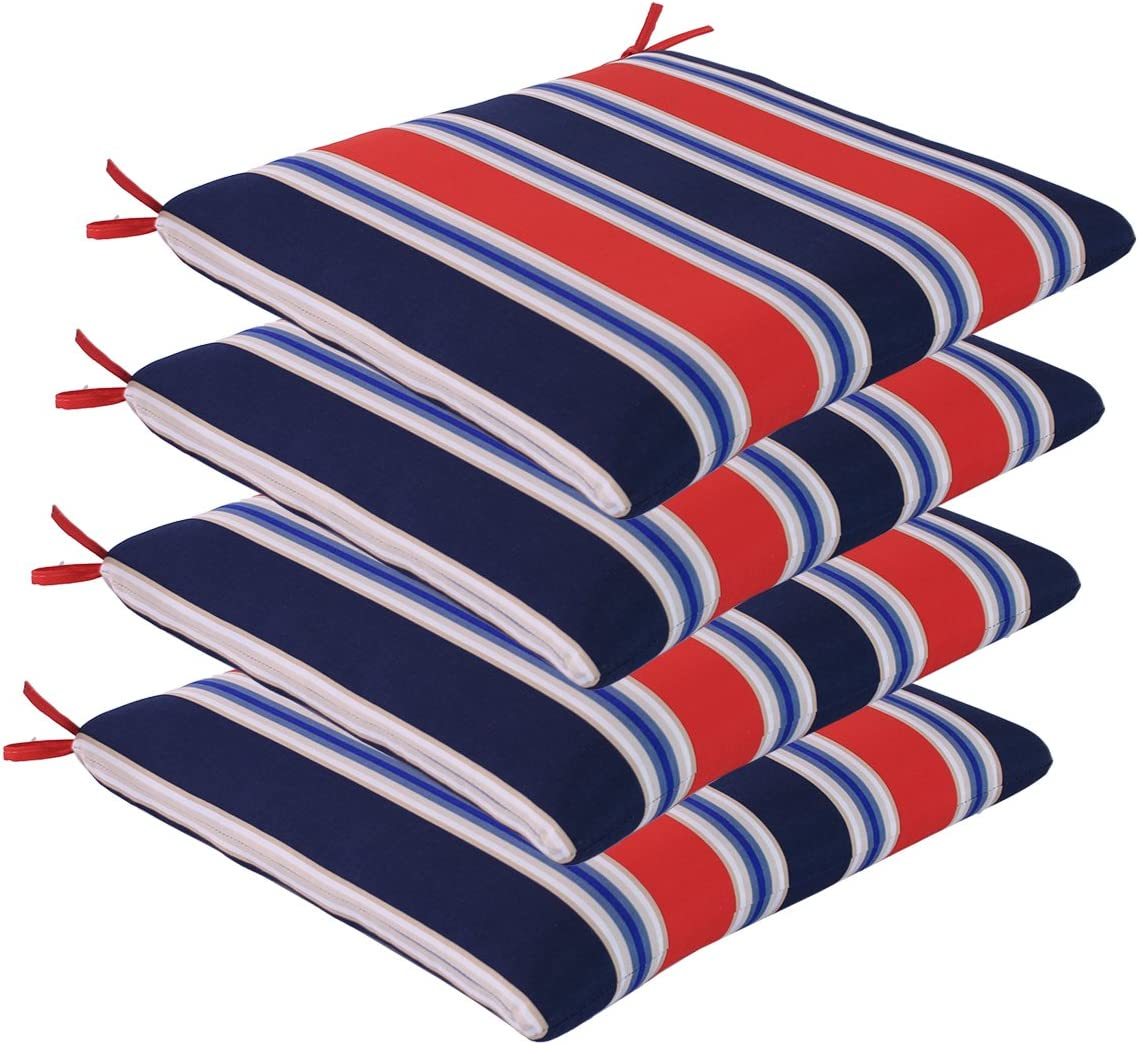 Comfort Classics Inc. Set of 4 Outdoor Seat Cushions 20 x 19 x 2 in Polyester Fabric Poolside Stripe