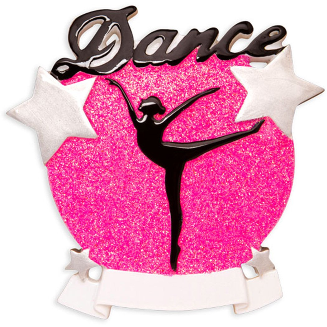 Personalized Dance Silhouette Christmas Ornament - Girl Dancer Pose in Pink Glitter Beam Stars - Love Dancing Profession Hobby Workout Fun Flex Female Profession Hobby - Free Customization by Elves