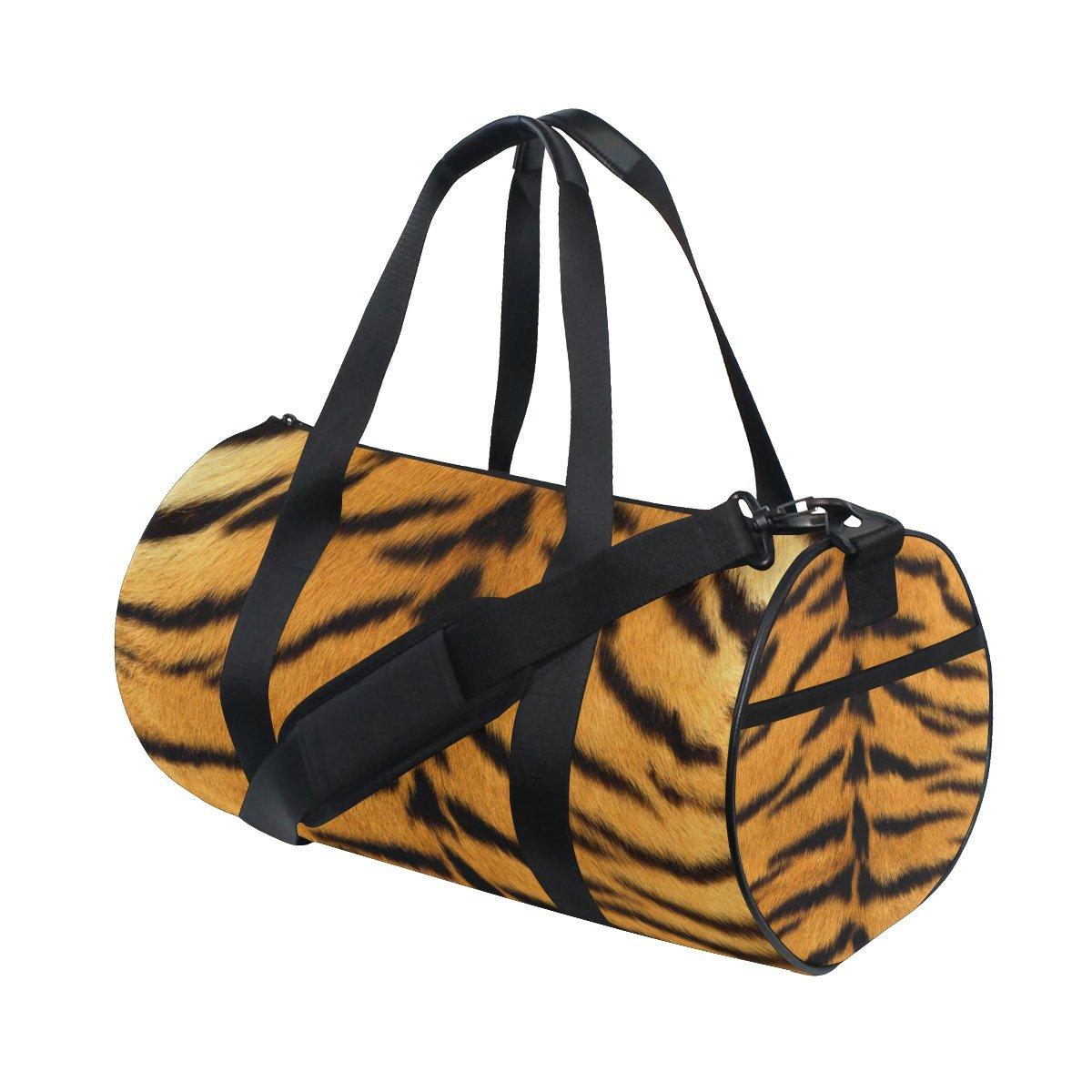 JIUMEI Skin Tiger Stripes Fur Striped Lightweight Canvas Sports Bag Travel Duffel Yoga Gym Bags Shoulder Bag for Women Men Girls Boys