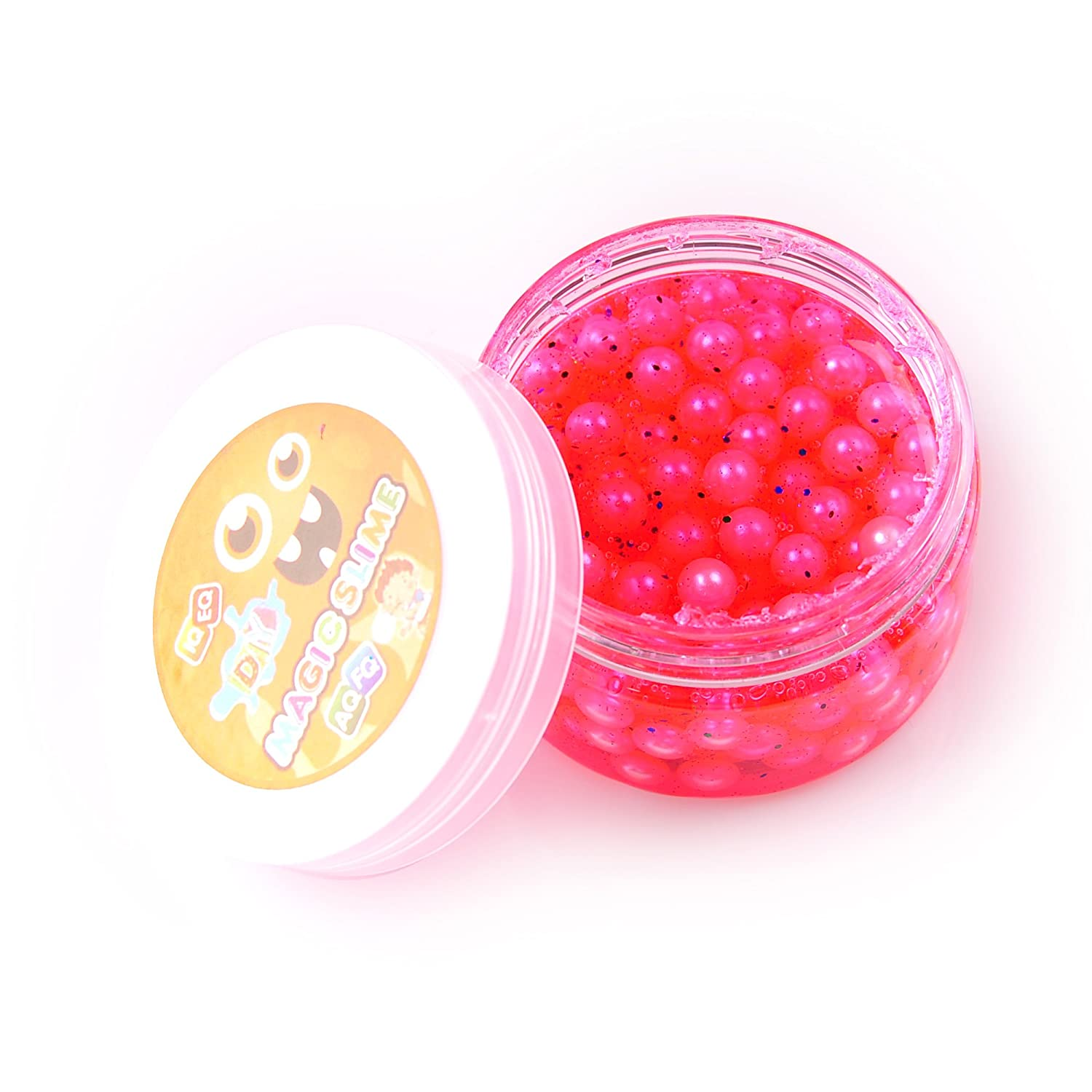 Colorful Pearl Birthday Beads Slime - 5 oz Clear Based Slime With Glitter and Foam Beads (Purple) Kirinstores TR0394B-10