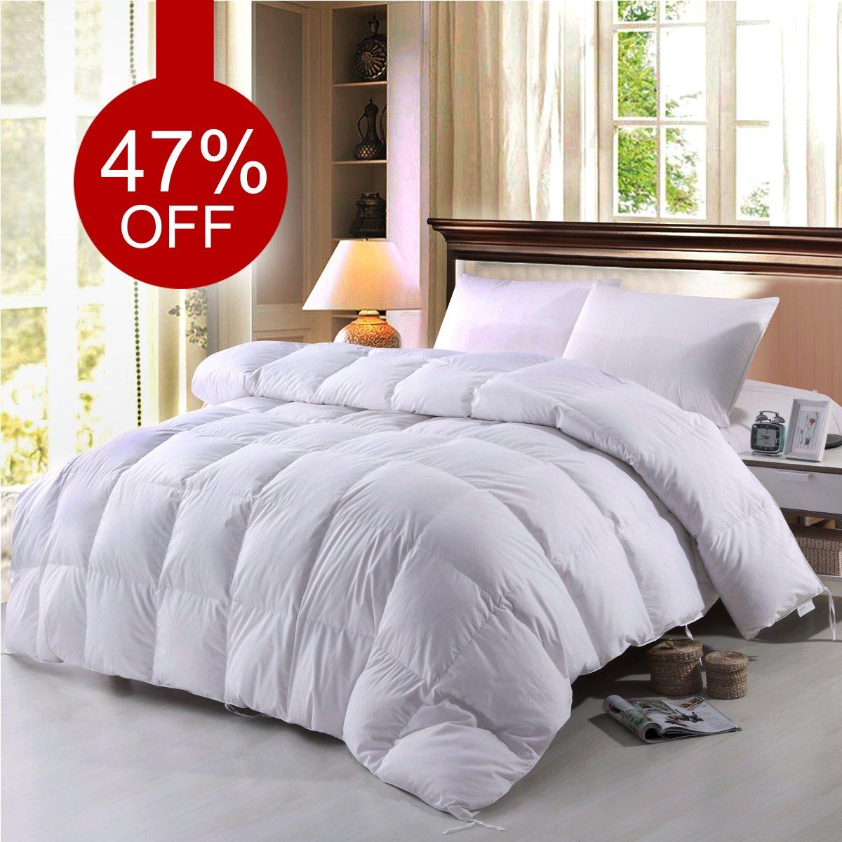 BTWZM Goose Down Comforter, Natural Materials Hypoallergenic Duvet Insert Comforter California King Size, 100% Cotton Down Proof Fabric White Comforter (California King)