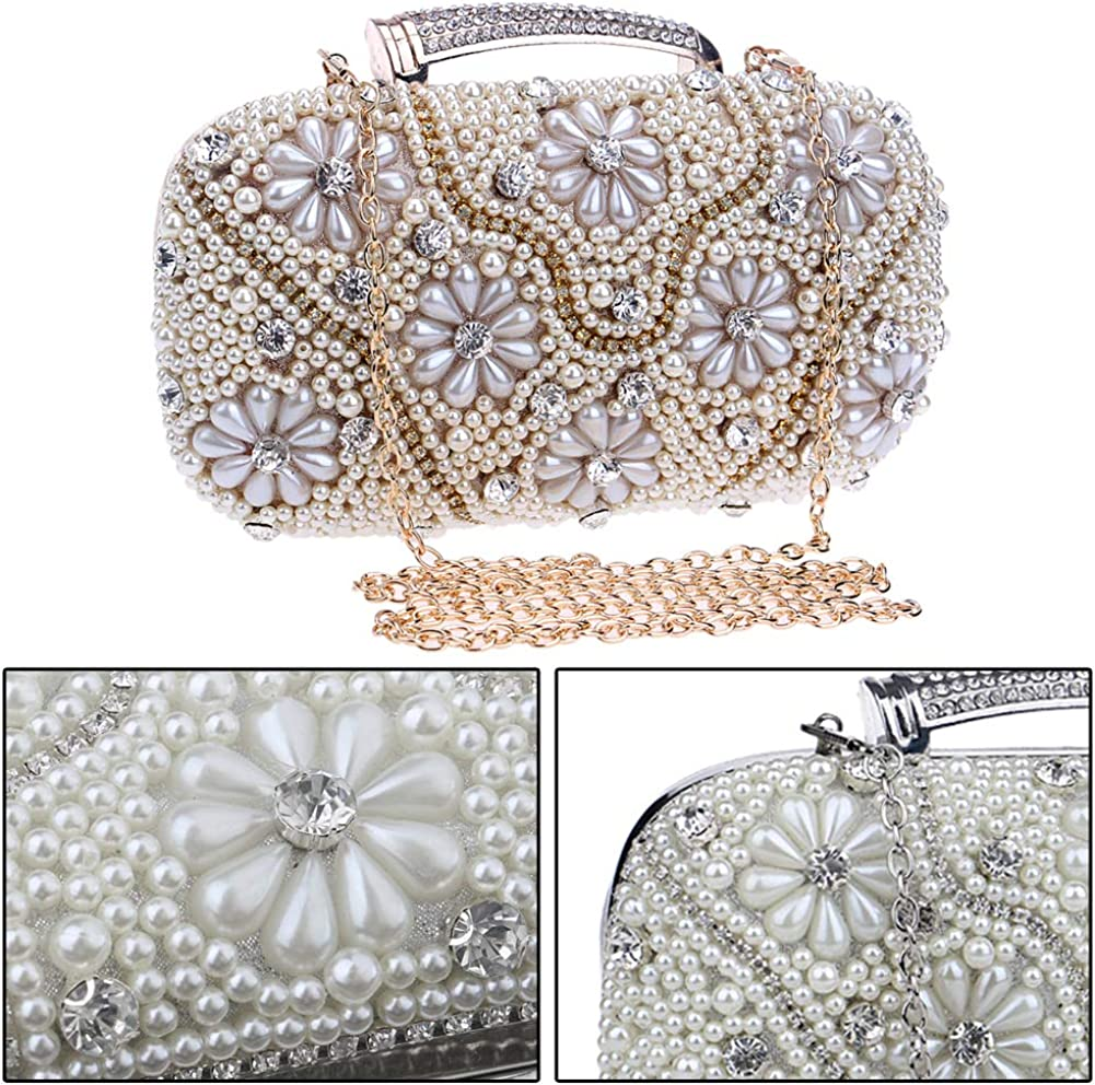 Clutch Purse Evening Bags For Womens Chain Dress Handbag Party Wedding Bead