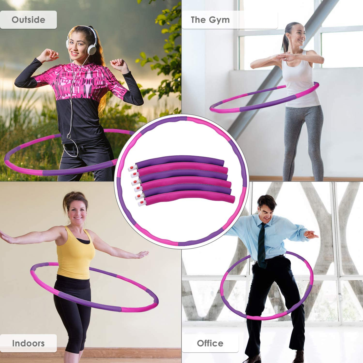 26.8-34.6in Folding Fitness Wave Weighted 1 kg 2.2lbs for Youth Adults Ladies GYM Exercise with Waist Ruler Adujustable Width 48-88cm Kuyou Hula Hoop