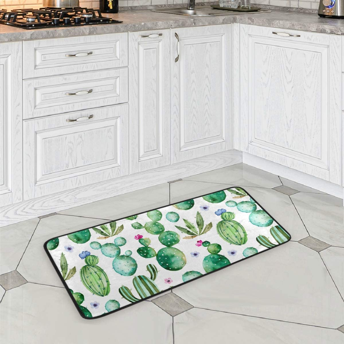 ZOEO Cactus Bath Runner Rug Green Succulents Plants Floral Flower Non Slip Area Mat Rugs for Bathroom Kitchen Indoor Carpet Doormat Floor Dirt Trapper Mats Shoes Scraper 39