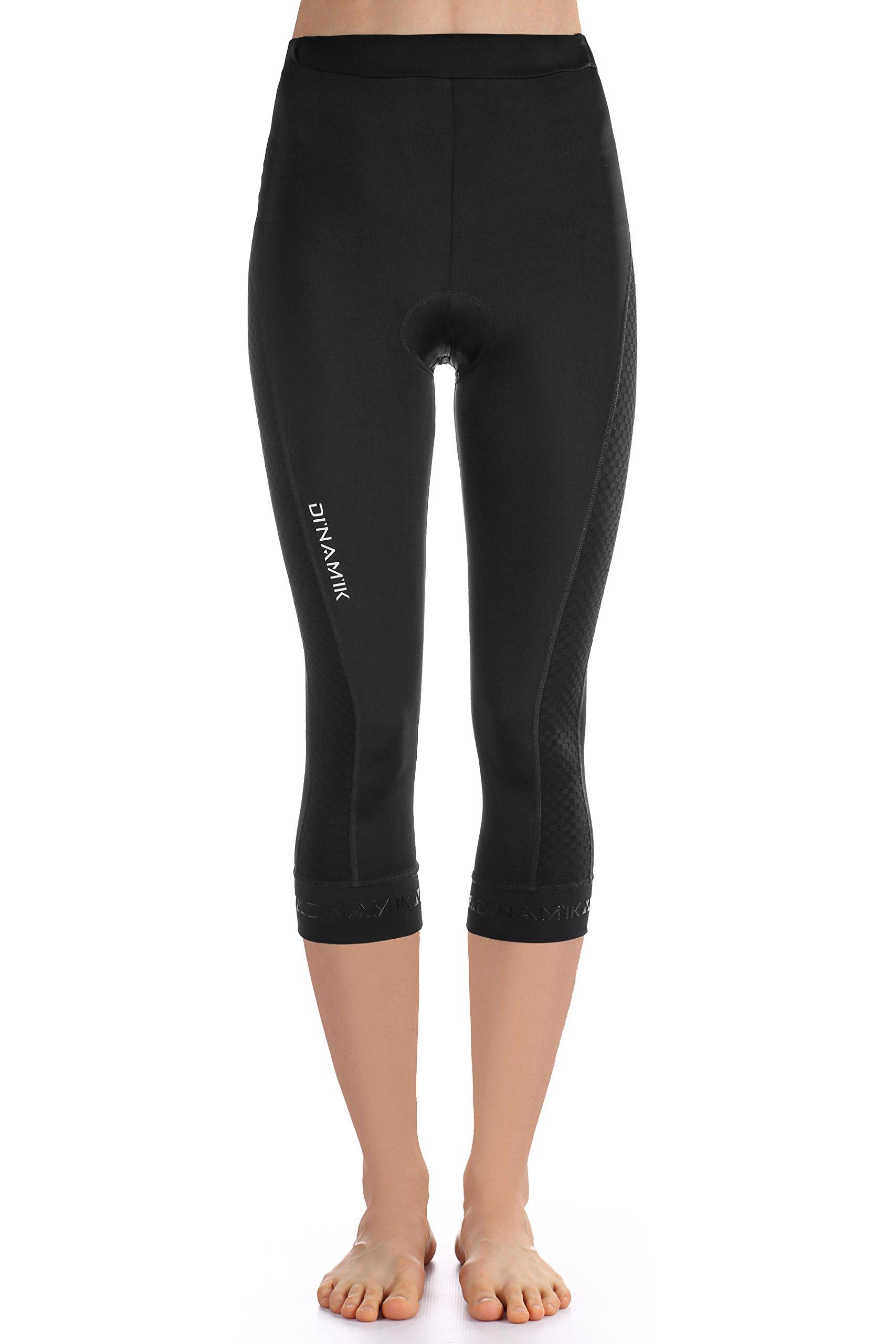 Dinamik Womens Cycling 3/4 Bike Tights Light Leggings Extra Padded Half Pants EVO PRO (X-Small, Black)