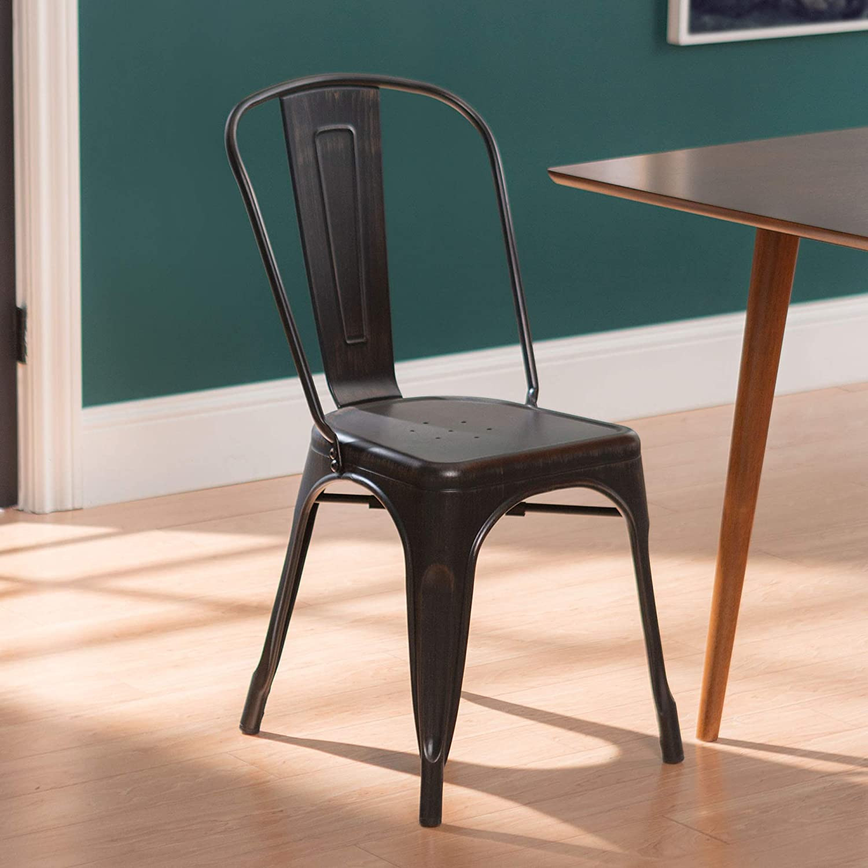 Amazon Com Walker Edison Metal Café Bistro Bar Dining Room Kitchen Chair Furniture Decor