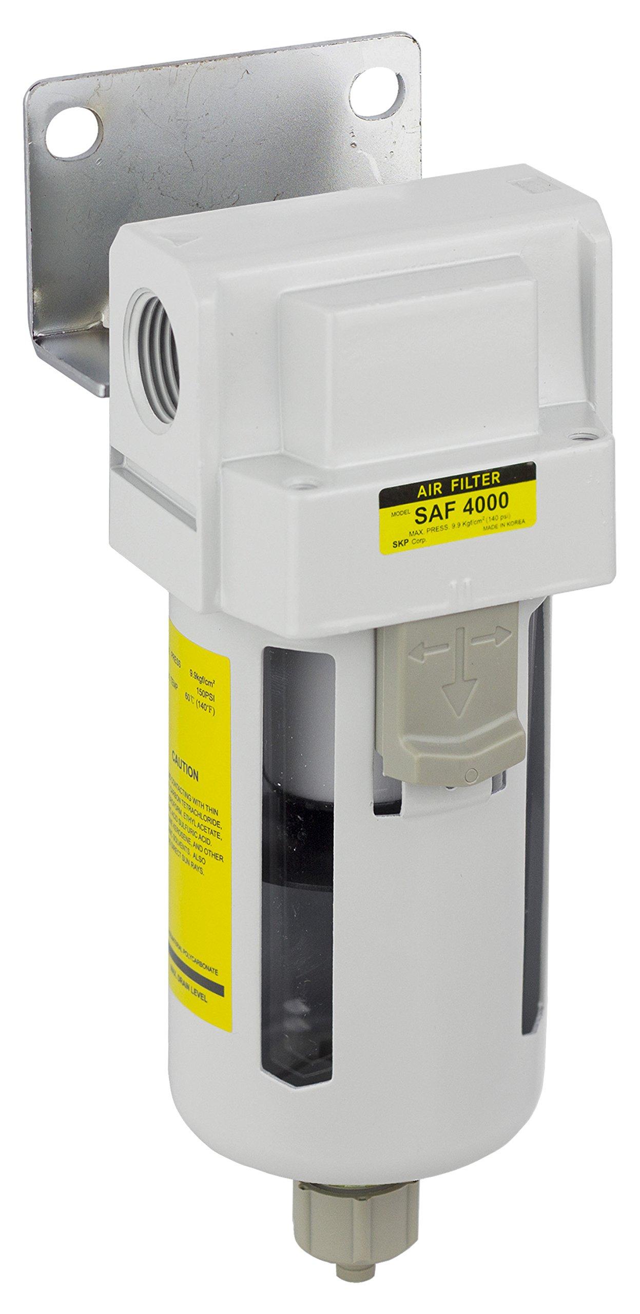 PneumaticPlus SAF4000M-N04B Compressed Air Particulate Filter, 1/2'' NPT, Manual Drain, Poly Bowl, 10 μm