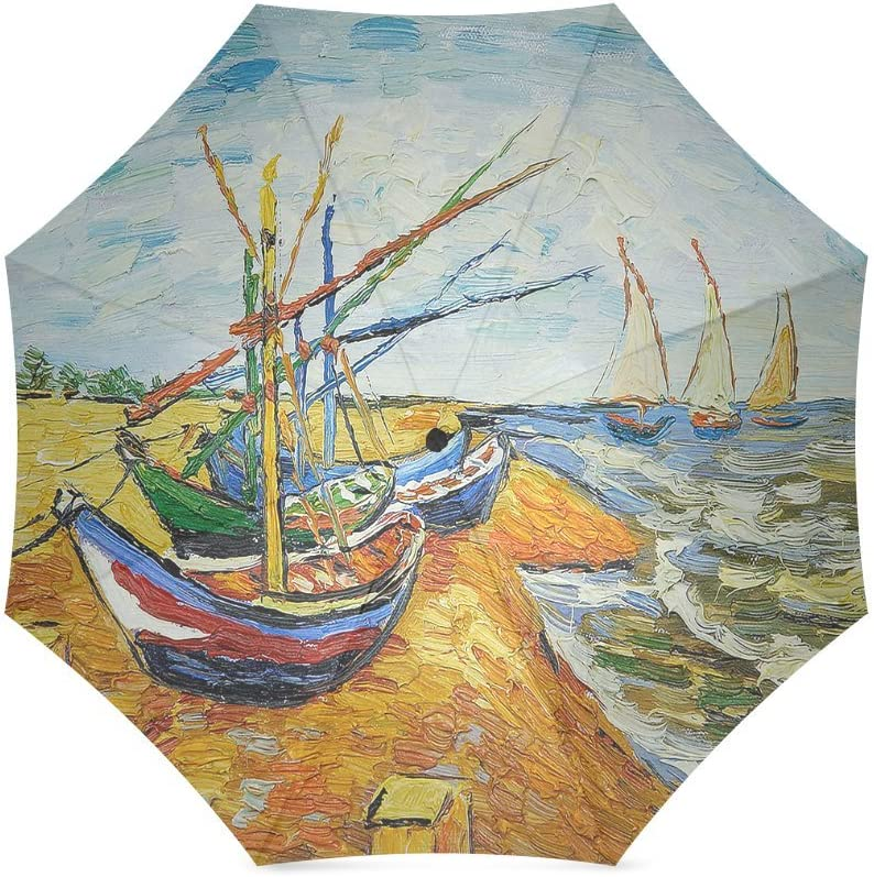 Custom Vinceny van Gogh In the SAN Madeira mo sea fishing boats Compact Travel Windproof Rainproof Foldable Umbrella