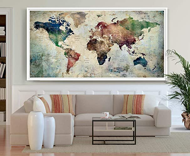 Amazon.com: Large world map poster, Detailed world map print ... on map lamp shade, map room divider, map travel, map venezuela flag, map in india, map in europe, map with states, map facebook covers, map cornwall uk, map tools, map recipe, map cross stitch, map of montana, map with mountains, map se usa, map color, map games, map design, map with title, map example,