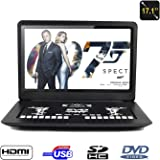 "17"" Portable DVD Player, FENGJIDA Portable DVD Player with Big Size Screen, Supports SD Card and USB, Direct Play in Formats MP4/ AVI/ MP3/ JPEG/ HDMI"