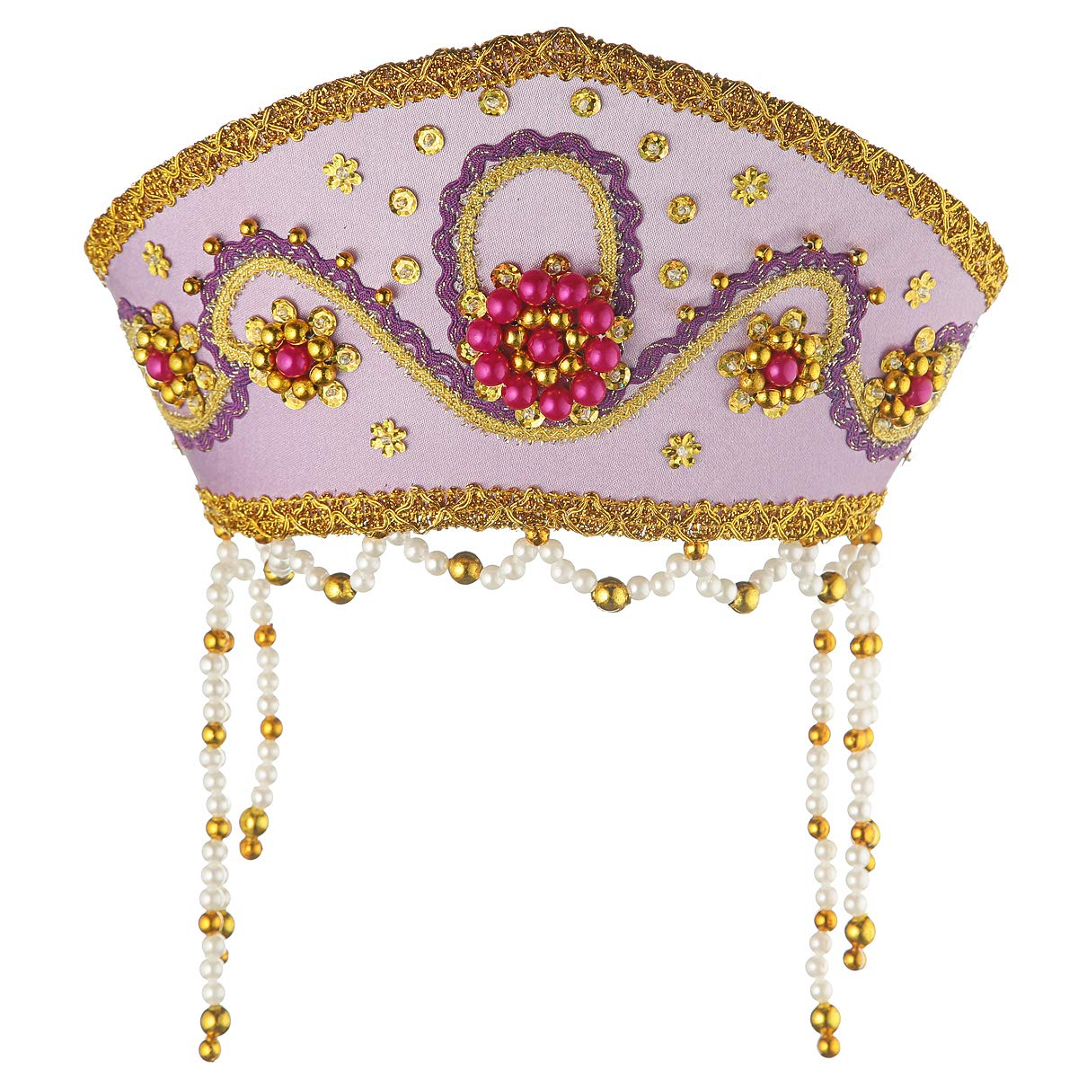 Russian Traditional Folk Costume Headdress Kokoshnik''Alina'' Purple #310 by danila-souvenirs