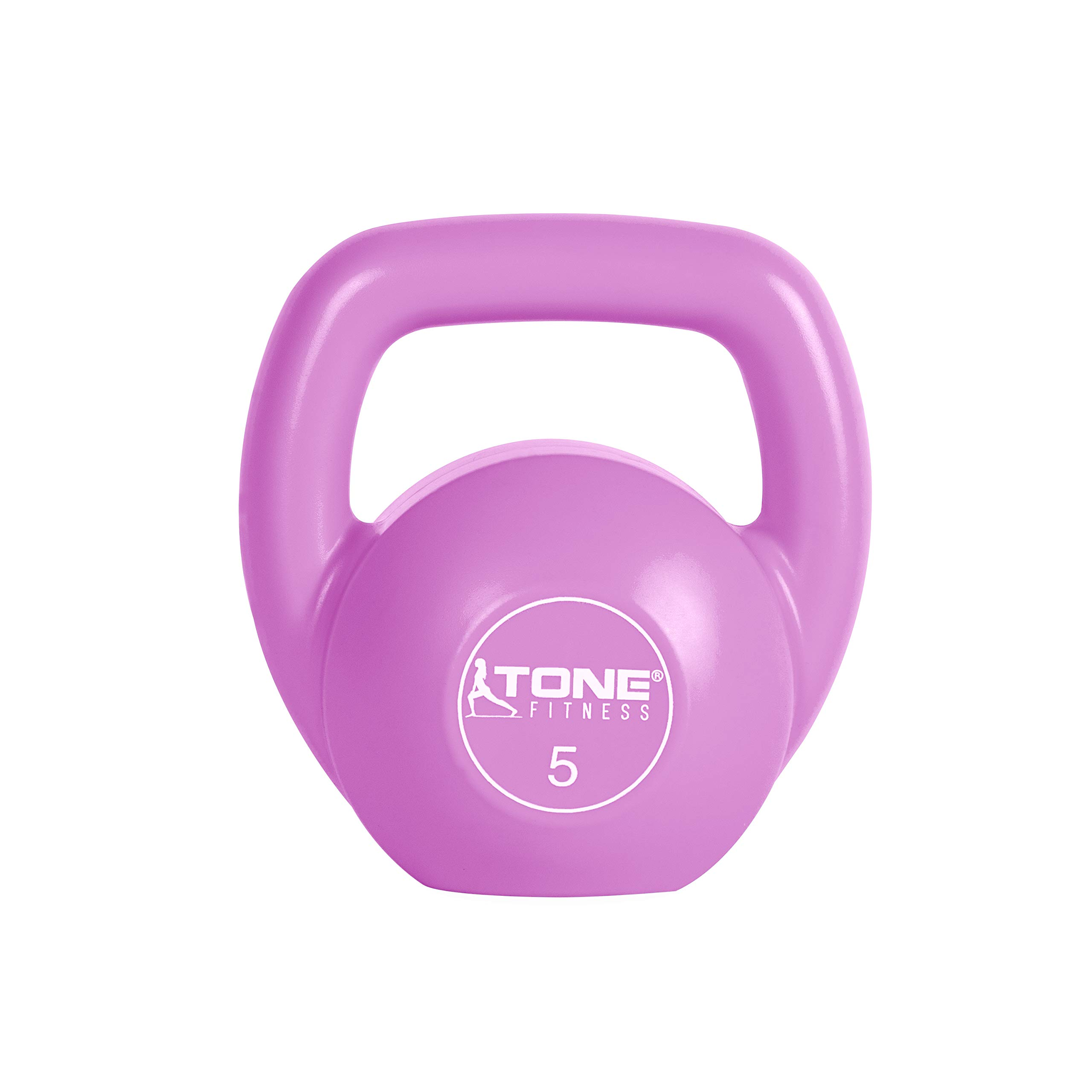 Tone Fitness Vinyl Kettlebell, 5-Pound, Pink
