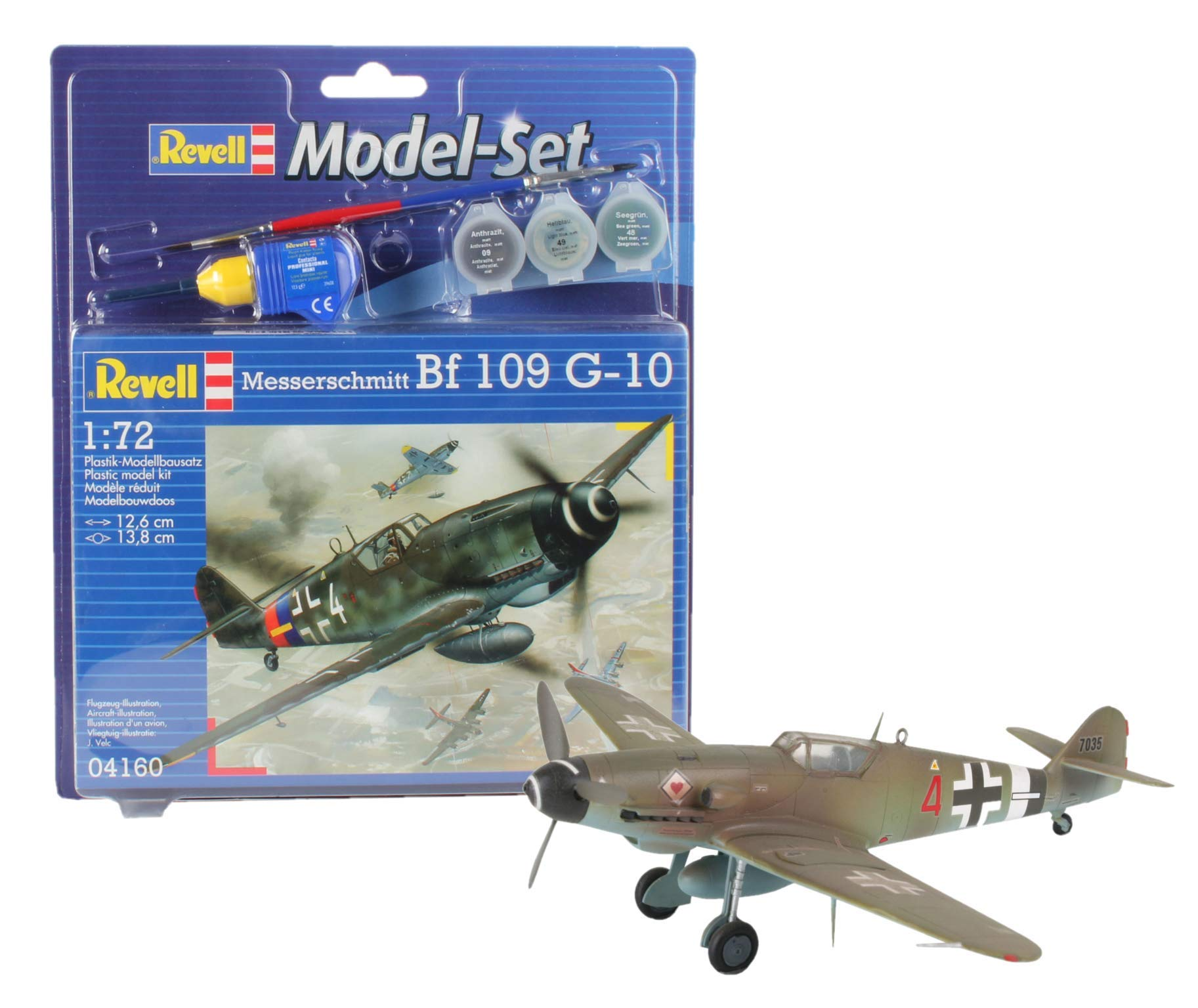 Revell Messerschmitt Bf-109 Model Kit Set 1:72 With Paints, Brush & Adhesive