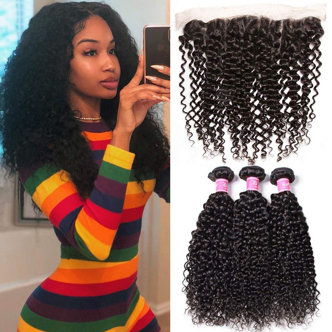 Ali Julia Hair Brazilian Curly Hair 3 Bundles with 13x4 Frontal Lace Clsoure Virgin 100% 10A Unprocessed Human Hair Extensions Natural Color (20 22 24+18 inch) by Yilian