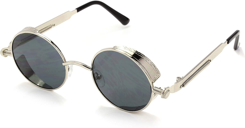 Aiweijia Metallo Cornice rotonda Occhiali da sole Moda Retro casuale per uomo donna Occhiali da sole allaperto