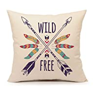 "Boho and Hippie Style Arrows Feathers Throw Pillow Cover Gold Yellow Cotton Linen Summer Decorative 18"" x 18""( Wild and Free )"