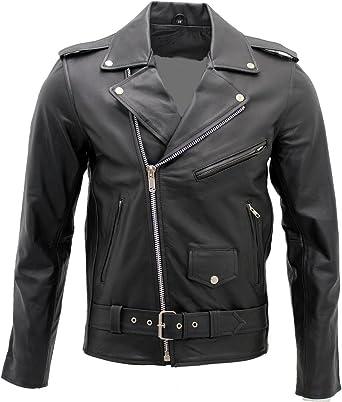 Men/'s Stylish Brando Casual Black Leather Biker Jacket