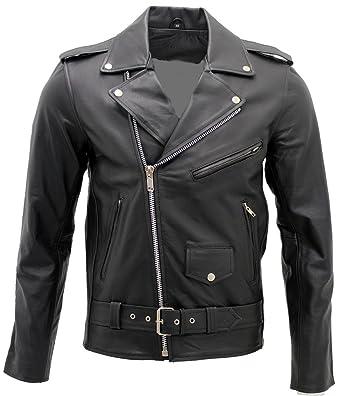 Mens Stylish Brando Casual Black Leather Biker Jacket XS