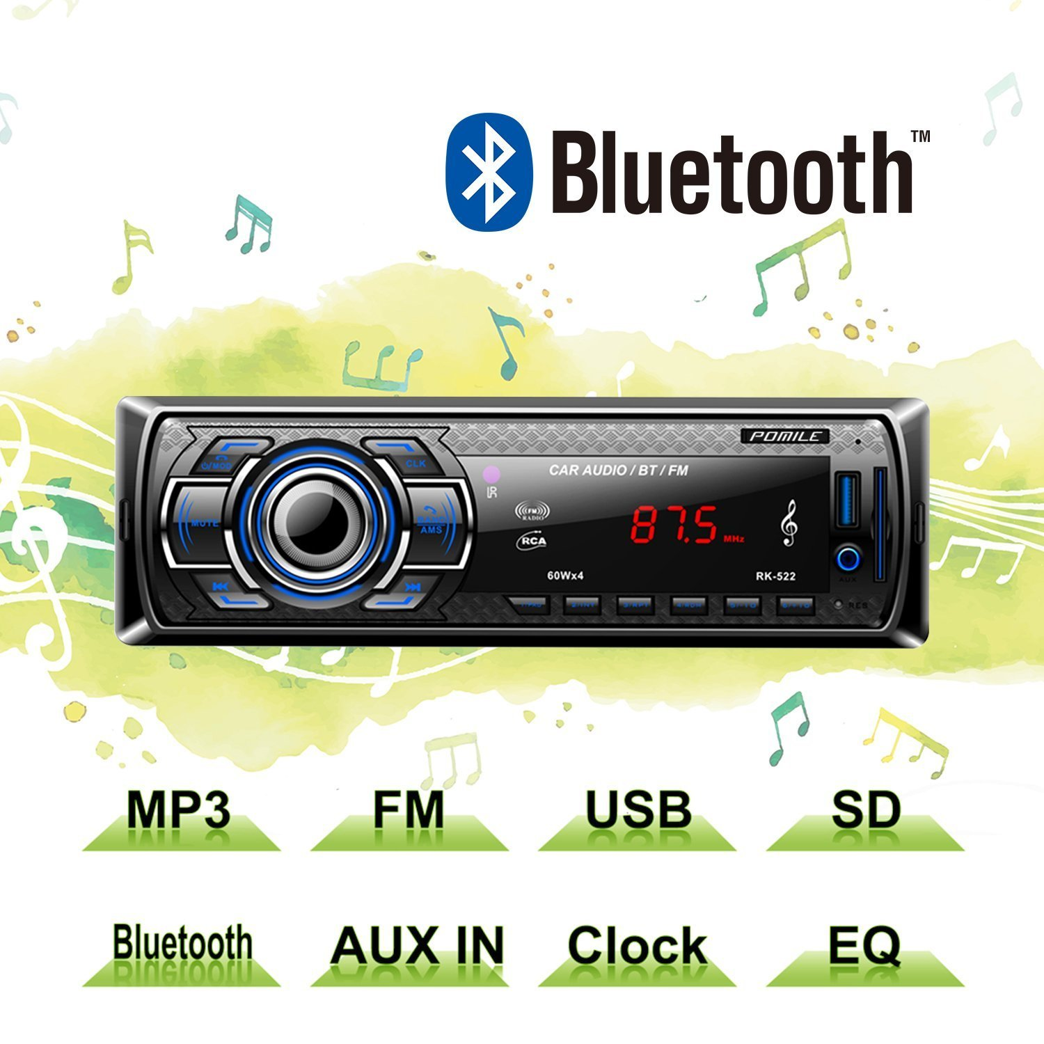 POMILE Car Stereo Audio Receiver Bluetooth, Car Radio MP3 Player Single Din In-Dash USB/SD/FM/AUX/MMC with Remote Control 12V, (No CD/DVD)