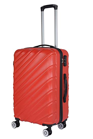 3G Combat 8023 Series ABS Red 24-inch 4Wheel Hard Sided Luggage Trolley Cabin Size Bag Suitcase