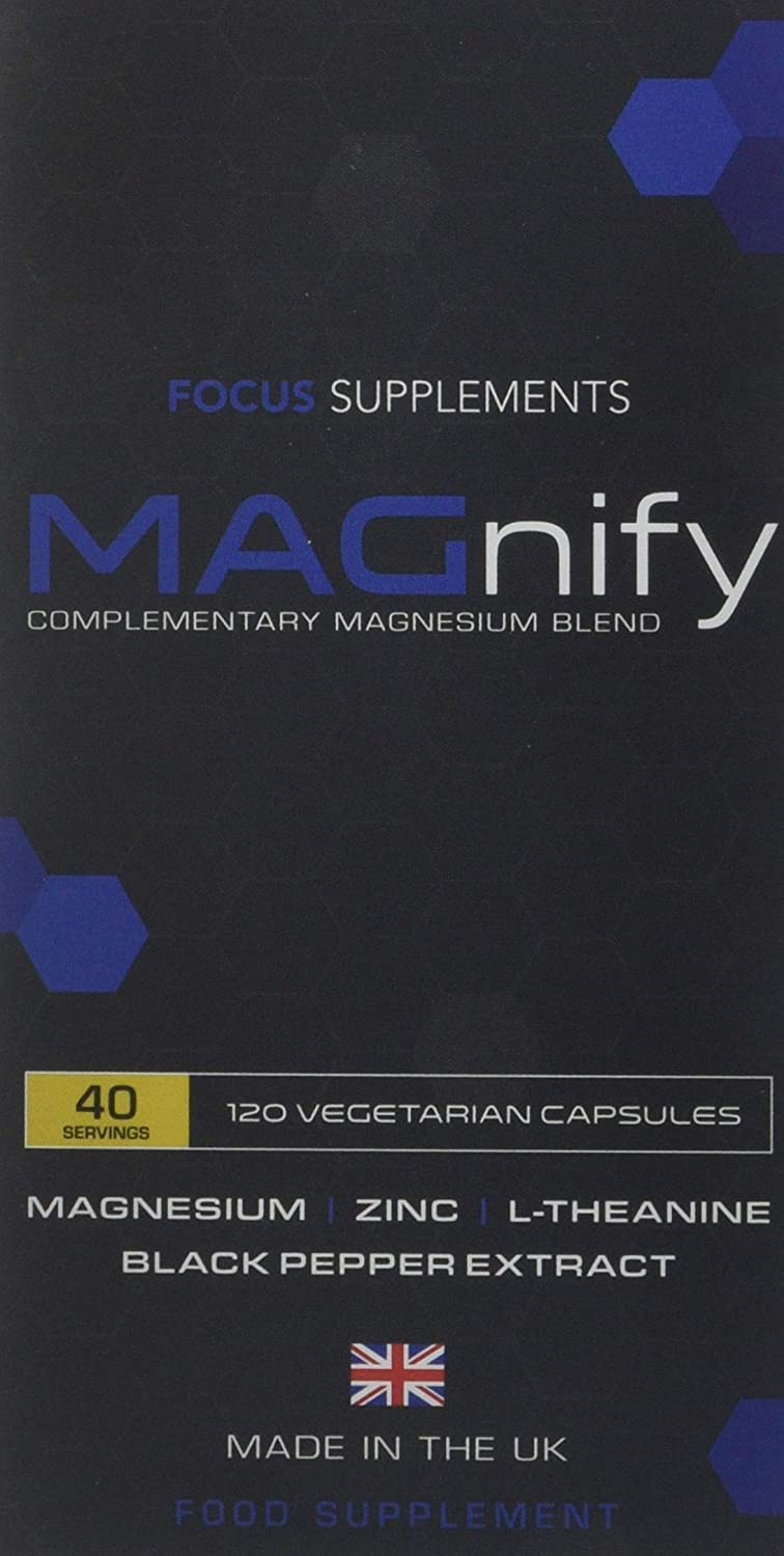 Magnify Magnesium Supplement Complex High Strength | Magnesium Glycinate,  Taurate, L Theanine, Zinc Plus Black Pepper Extract for Improved Absorption