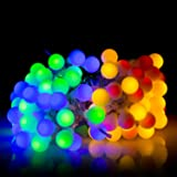 BIENNA Globe String Lights, UL Listed Plug In 100 LED 33 ft/10 M Frosted Fairy [Waterproof] [8 Modes] Lighting for Outdoor Indoor Bedroom Outside Wedding Patio Christmas Xmas Holiday Party-Colorful