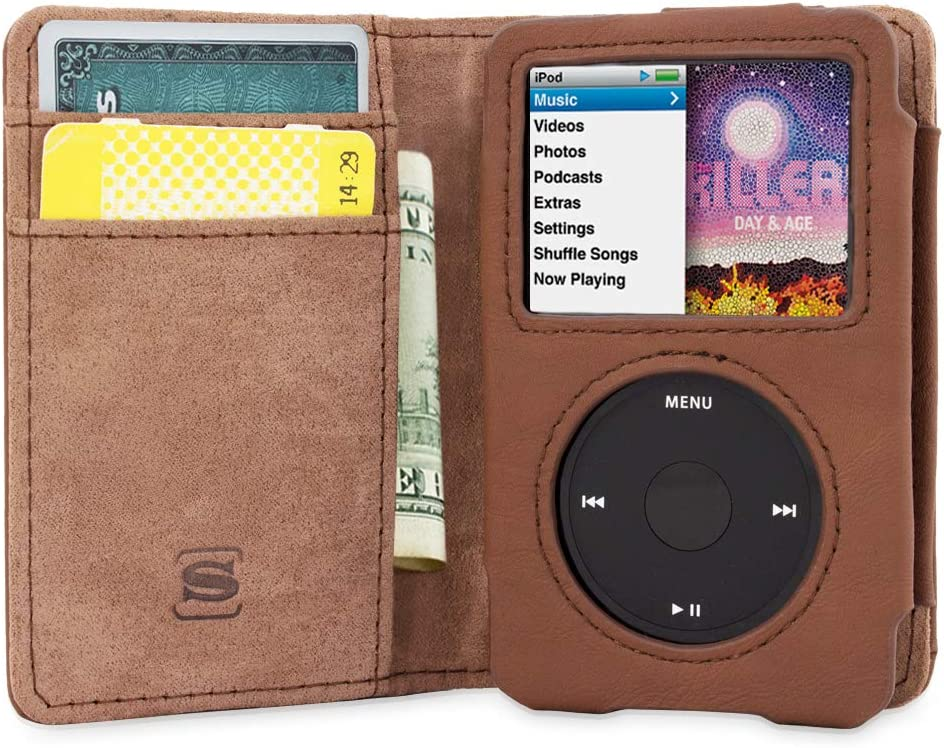 Snugg iPod Classic Case, Brown Leather Leather Flip Case [Card Slots] Executive Apple iPod Classic Wallet Case Cover and Stand - Legacy Series
