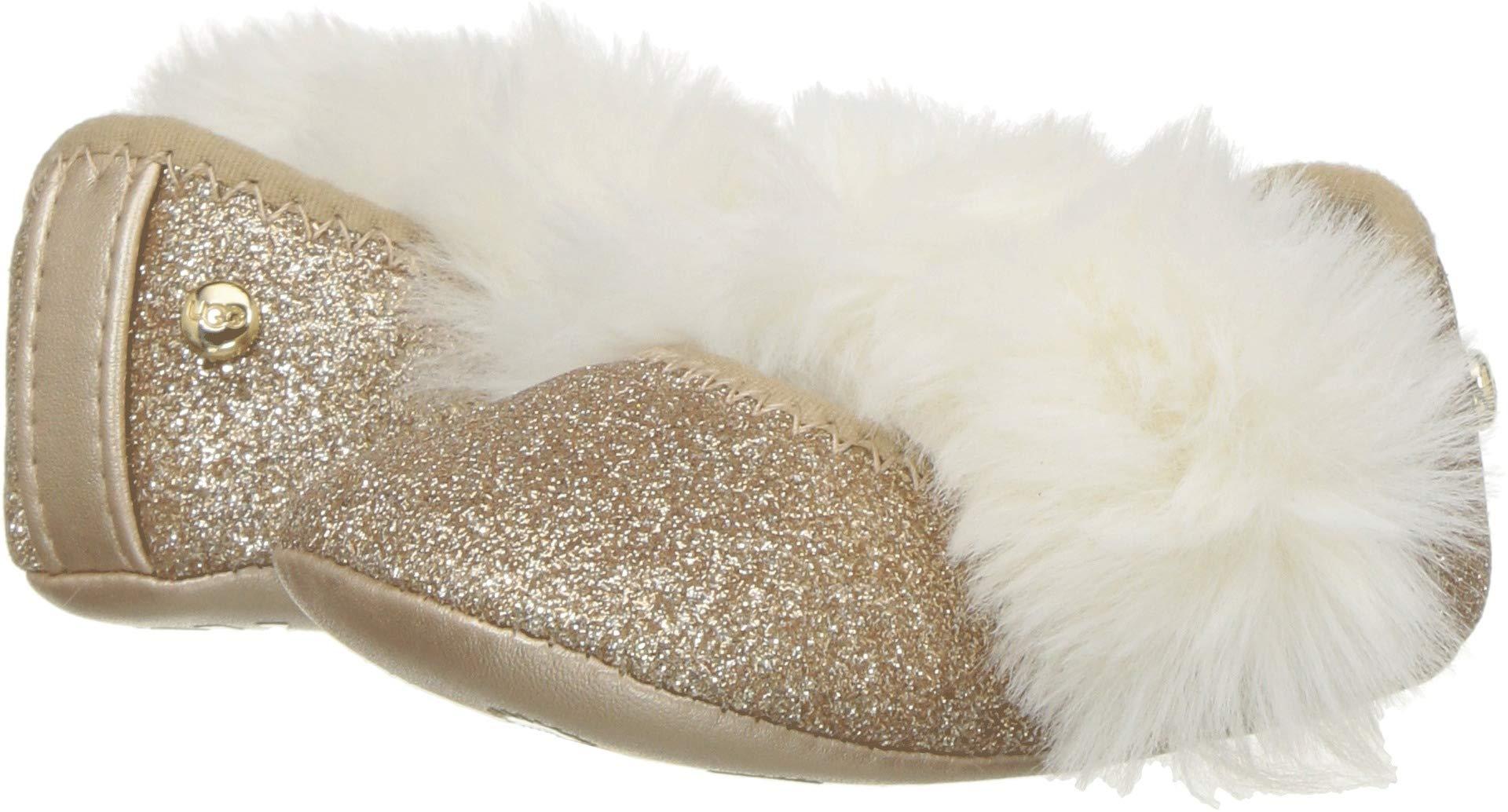 ویکالا · خرید  اصل اورجینال · خرید از آمازون · UGG Girls' I Fluff Glitter Ballet Flat, Gold, 2/3 M US Infant wekala · ویکالا