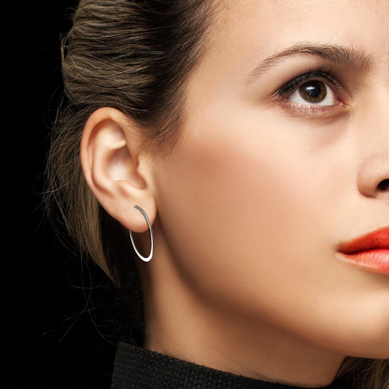 Aroncent 10PCS Womens Silver Stainless Steel Large Loop Hoop Hinged Earrings Set