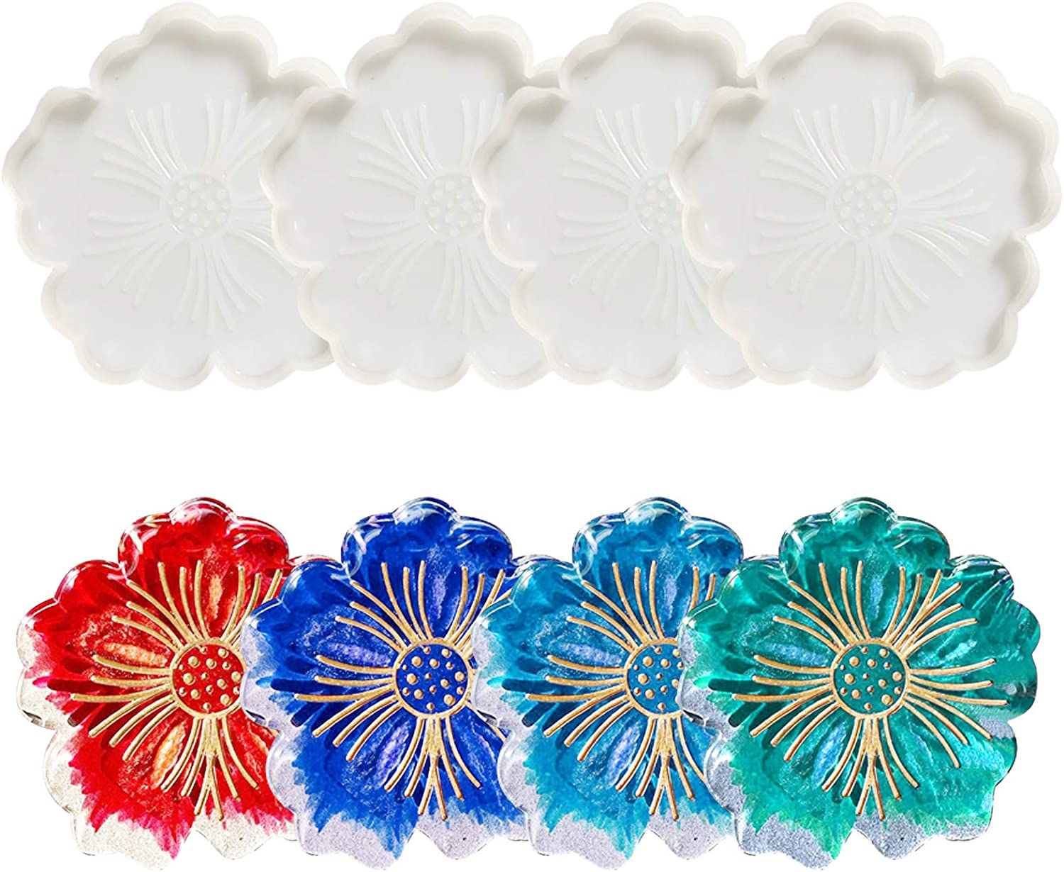ORNOOU 6 Pieces Large Silicone Flower Coaster Resin Casting Making Mold Resin Coaster Molds Agate Coaster Epoxy Molds