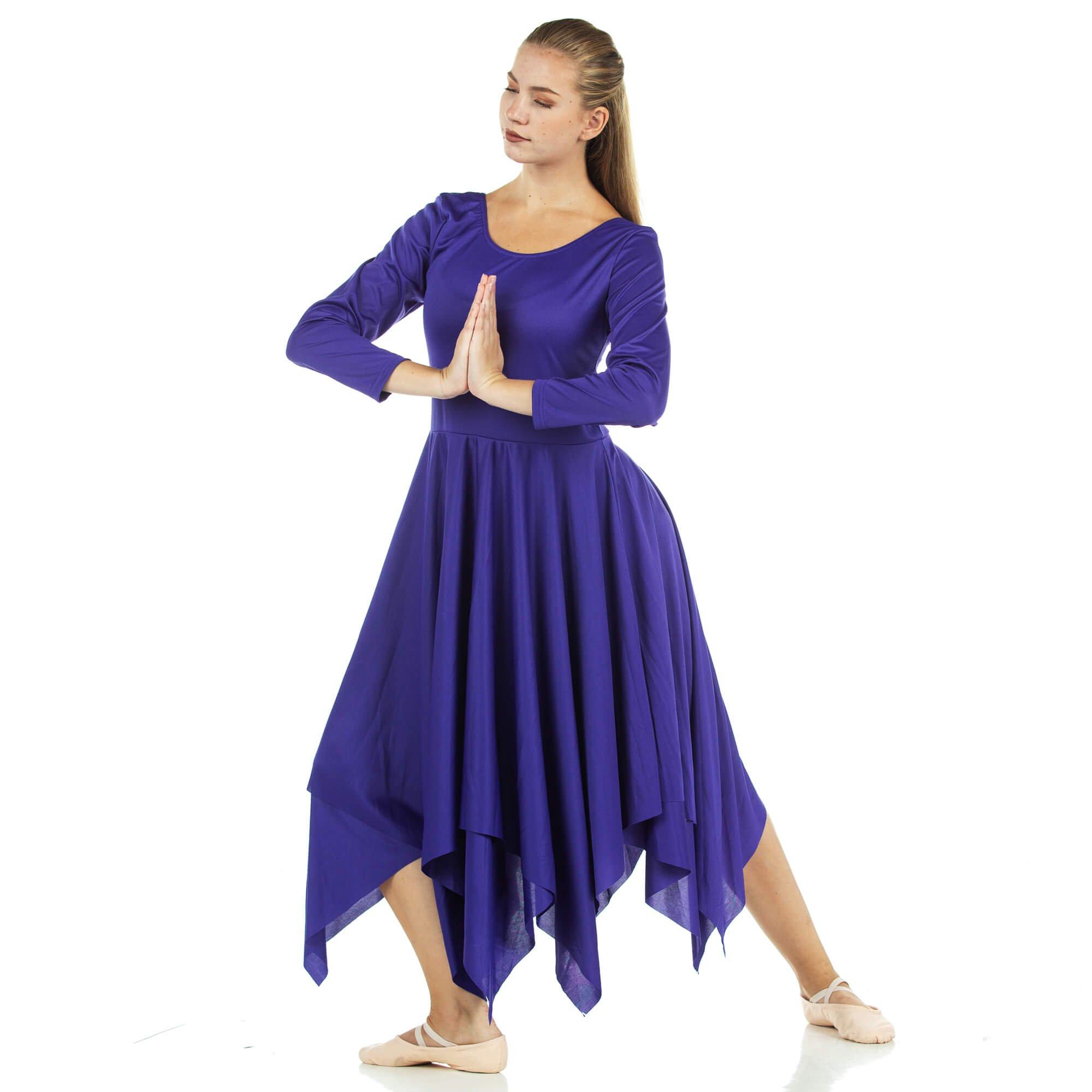 Danzcue Womens Celebration of Spirit Long Sleeve Dance Dress, Deep Purple, 2XL-3XL by Danzcue